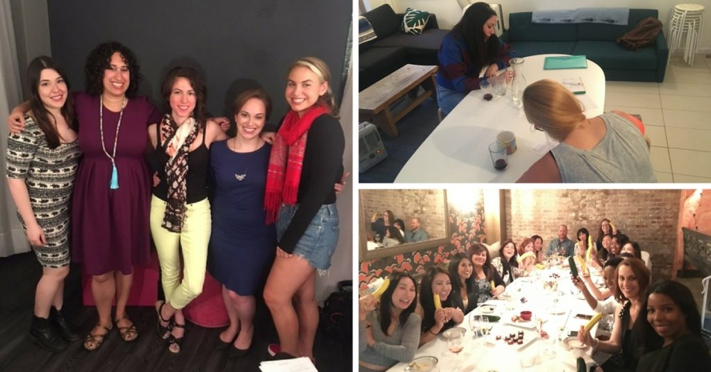three photos full of women smiling & laughing while learning about sex| Sex Workshops NYC (& Beyond) | Passion by Kait