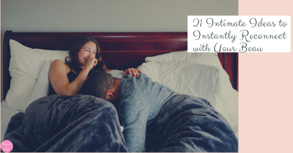 Two people laughing in a bed. One is doubled over while the other has their hand in from of their mouth. | 21 Intimate Ideas to Instantly Reconnect Emotionally to Your Partner | Passion by Kait